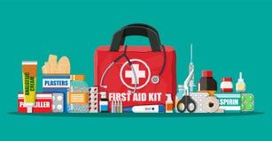 Cassetta di pronto soccorso medica con le pillole ed i dispositivi Immagine Stock