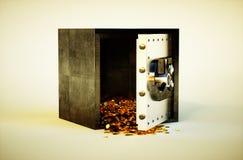 Cassetta di sicurezza con le monete dorate Immagini Stock Libere da Diritti