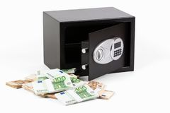 Cassetta di sicurezza, mucchio di denaro contante, euro immagine stock