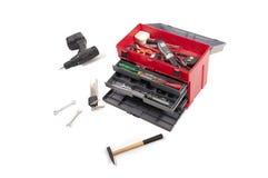Cassetta portautensili aperta di colore rosso fotografie stock