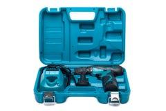 Cassetta portautensili blu con il cacciavite isolato su bianco Immagini Stock Libere da Diritti