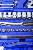 Cassetta portautensili con differenti tipi di chiavi Fotografie Stock Libere da Diritti