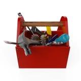 Cassetta portautensili rossa con gli strumenti Sckrewdriver, martello, sega a mano e chiave In costruzione, manutenzione, correzi Fotografia Stock Libera da Diritti
