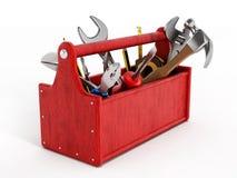 Cassetta portautensili rossa in pieno degli attrezzi per bricolage Immagine Stock Libera da Diritti
