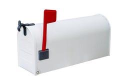 Cassetta postale bianca con a porta chiusa Fotografie Stock