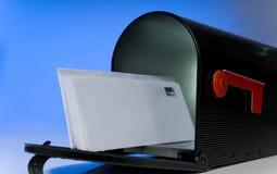 Cassetta postale con la lettera in bianco Fotografia Stock Libera da Diritti