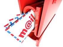 Cassetta postale con posta isolata sopra bianco Fotografia Stock Libera da Diritti
