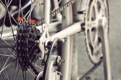 Cassetta posteriore della bici sulla ruota con la catena Fotografia Stock