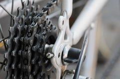 Cassetta posteriore della bici sulla ruota con la catena Immagine Stock Libera da Diritti