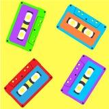 Cassetta stereo nel modello d'annata di stile illustrazione di stock