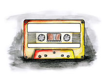 Cassette. Drawing / illustration of a cassette tape with blank labels on white background royalty free illustration