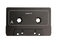 Cassette. An old black cassette, side A Royalty Free Stock Photo