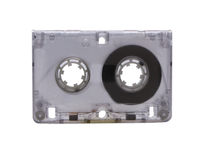 Cassette. Audio cassette on white background, close up royalty free stock photos