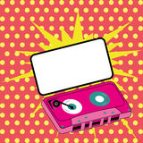 Cassette. Abstract pink cassette on special pop art background Stock Photography