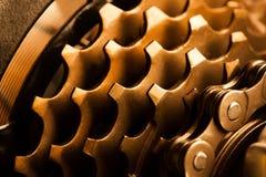 Cassette arrière de vélo avec la chaîne. macro Photo stock