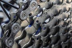 Cassette arrière de vélo de montagne sur la roue avec la fin de chaîne  photographie stock libre de droits