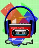 Cassette audio player with big headphones royalty free illustration