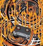 Cassette audio y el cartel Imagenes de archivo