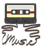 Cassette avec la musique sur bande Images libres de droits