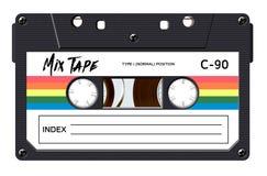 Cassette avec le rétro label comme objet de vintage pour la conception de bande de mélange de la renaissance 80s illustration stock