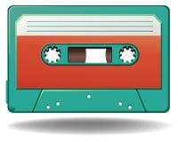 Cassette. Blue color cassette with red color label stock illustration