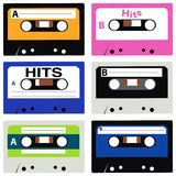Cassette Collection. Vector collection of vintage cassettes Royalty Free Stock Photo