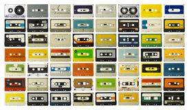 Cassette collection vintage music tapes. Amazing collection of vintage cassette tapes music analogue stock photography