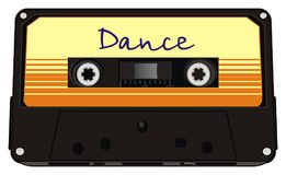 Cassette and dance music. Retro black audio cassette with dance music Stock Image