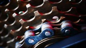 Cassette de pièces de bicyclette, à chaînes et arrière photo libre de droits
