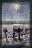 Cassette delle lettere di giorno di Snowy con lo scritto antico della cartolina Fotografie Stock Libere da Diritti