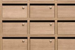 Cassette delle lettere di legno dell'armadio postali Fotografia Stock Libera da Diritti