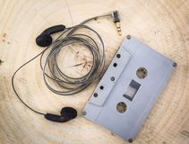 Cassette with earphones Royalty Free Stock Images