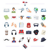 Cassette, education, translation and other web icon in black style.  Stock Photos