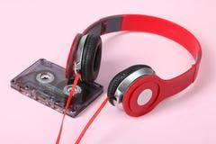 Cassette et écouteurs Images libres de droits