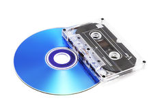 Cassette et CD de bande Photo stock