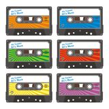 Cassette line 01. Consisting of six different colors teyip tape royalty free illustration