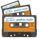 Cassette line. 80 years of cassette tape describing graphic design vector illustration