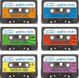Cassette line. 80 years of cassette tape describing graphic design stock illustration