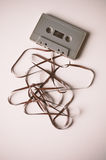 Cassette with mess of tape Royalty Free Stock Image