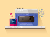 Cassette and mp3 players vs smart phone Royalty Free Stock Image