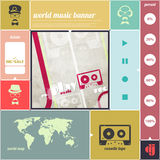 Cassette music. Music infographics banner with cassette tape icon, world map, poster template. vector background design vector illustration