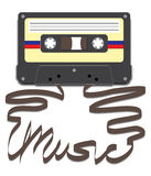 "Cassette with Music on Tape. Casette tape with tape pulled out to spell ""Music Royalty Free Stock Images"