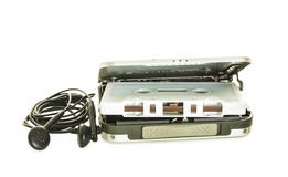 Cassette player. With audio tape.Isolate on white royalty free stock photo