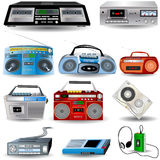 Cassette Player Icons. Vector Illustration of ten cassette player icons and a cassette tape realistic icon Royalty Free Stock Photography