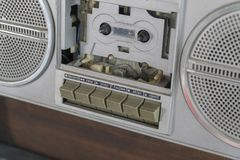 Cassette player silver look classic inside view royalty free stock photography