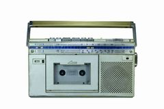 1960 cassette player on white background ,retro styl for decoration.  royalty free stock photos