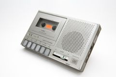 Cassette Recorder. Portable cassette recorder. Old and scratchy Stock Photo
