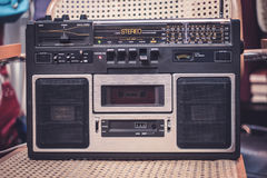Cassette recorder / audio player - 80s radio royalty free stock photo
