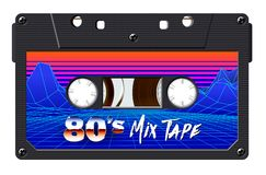 Cassette with retro label as vintage object for 80s revival mix tape design. Party poster or cover. Realistic vector sign or icon stock illustration