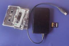 Cassette, sdcard et disque dur externe Photographie stock libre de droits
